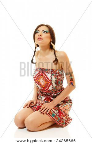 Beautiful young woman native Maya American Indian dressed in national costume, isolated on white background