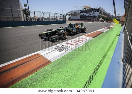 VALENCIA, SPAIN - JUNE 24: Vitaly Petrov in the Formula 1 Grand Prix of Europe, Valencia Street Circuit. Spain on June 24, 2012