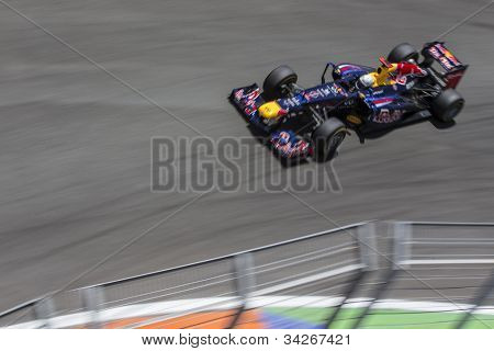 VALENCIA, SPAIN - JUNE 24: Sebastian Vettel in the Formula 1 Grand Prix of Europe, Valencia Street Circuit. Spain on June 24, 2012