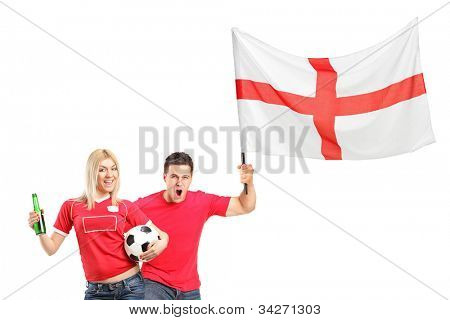 Euphoric fans, male and female, shouting and holding a soccer ball and English flag isolated on white background