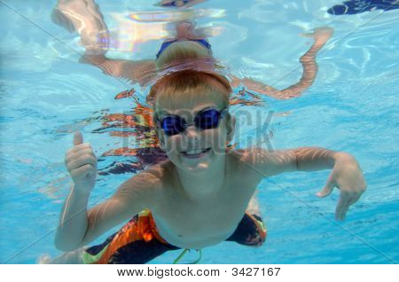 Boy Playing Underwater