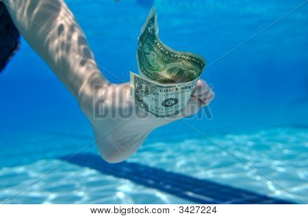 Dollar Bill Underwater