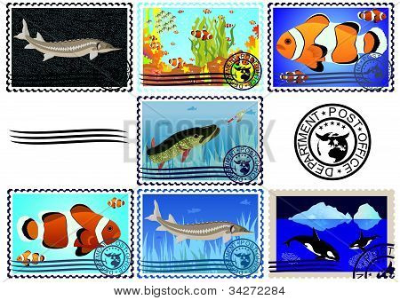 Postage stamps. Fish.