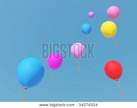 Rubber balloon with blue sky