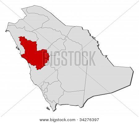Map Of Saudi Arabia, Al Madinah Highlighted