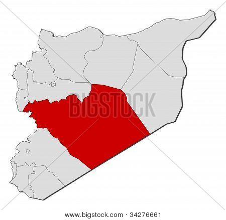 Map Of Syria, Homs Highlighted