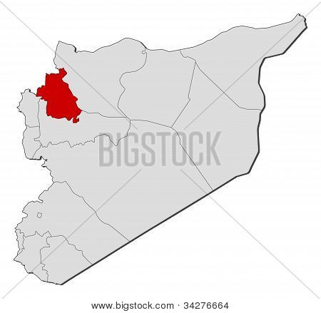 Map Of Syria, Idlib Highlighted