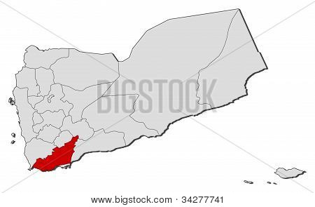 Map Of Yemen, Lahij Highlighted