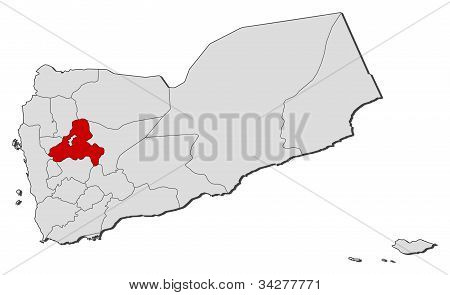 Map Of Yemen, Sana'a Governorate Highlighted