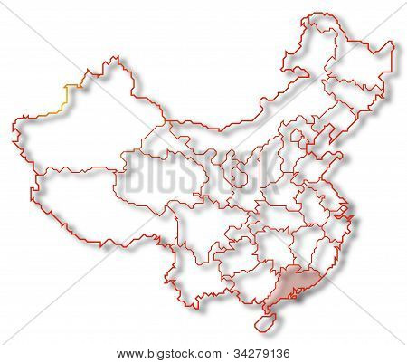 Mapa da China, Guangdong destacada