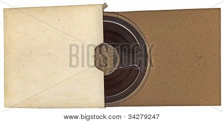 Vintage Autio Type Roll In Paper Isolated On White Background, Nostalgia