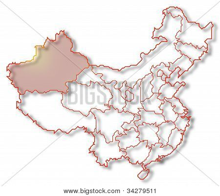 Map Of China, Xinjiang Highlighted