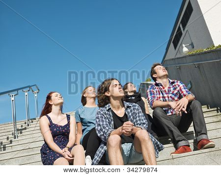 Group of people on a stair
