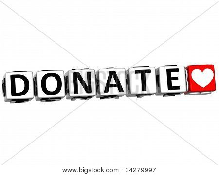 3D Donate Button Click Here Block Text