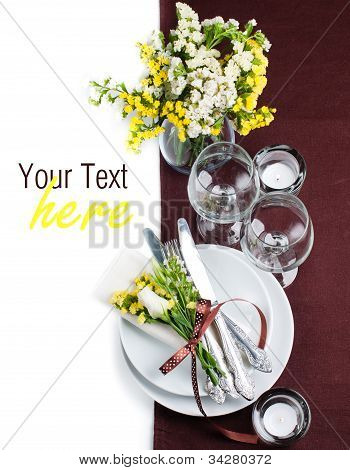 Festive Table Setting In Brown, Template
