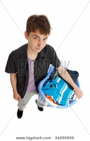 Teenager With Basket Of Clothing