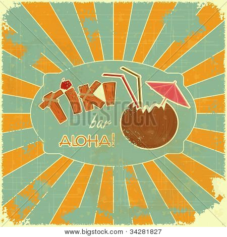 Retro Design Tiki Bar Menu