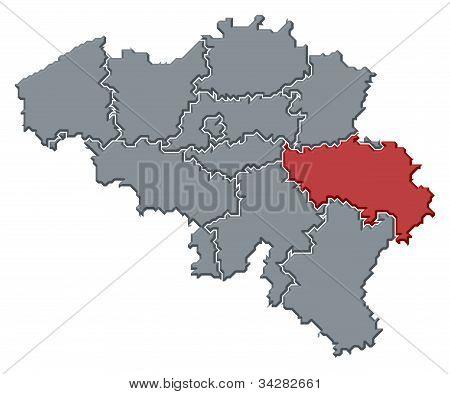 Map Of Belgium, Liège Highlighted