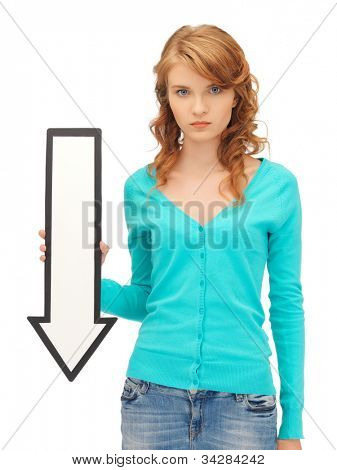 picture of attractive teenage girl with direction arrow sign