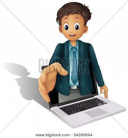 Business man coming out of a computer screen