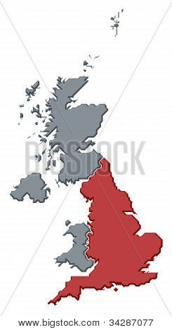 Map Of United Kingdom, England Highlighted