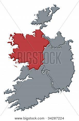 Map Of Ireland, Connacht Highlighted