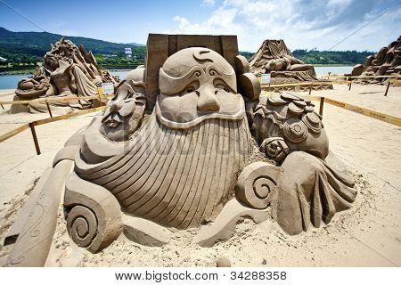 Chinese Money God Sand Sculpture