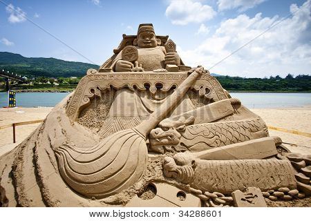 Chinese Money God Sand Sculpture