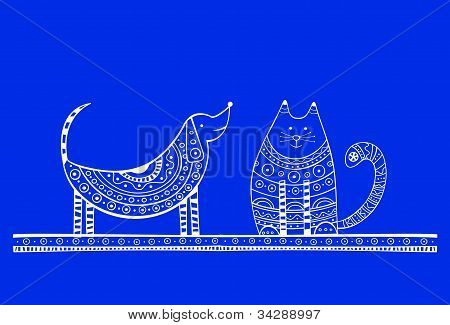 Blue dog and cat illustration