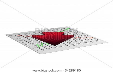 Business chart illustration with down arrow