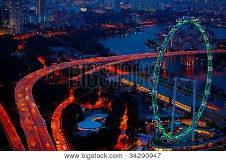 Aerial view on Singapore at night