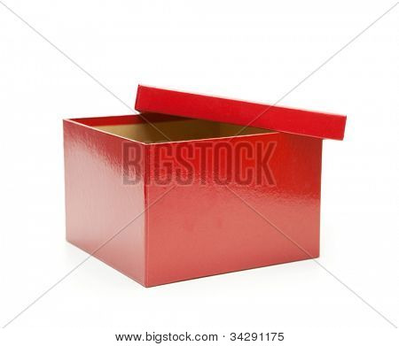 Bright red gift box, lid half open. Isolated on white.