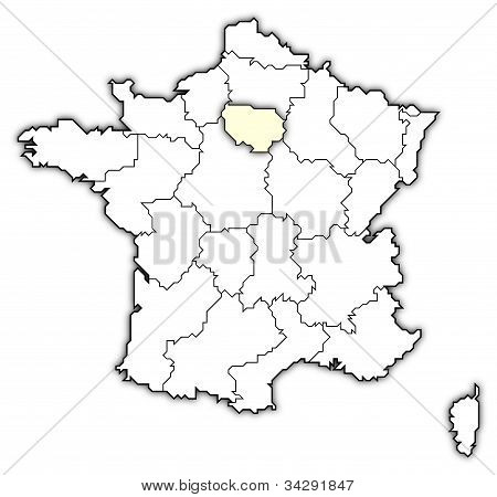 Map Of France, Île-de-france Highlighted