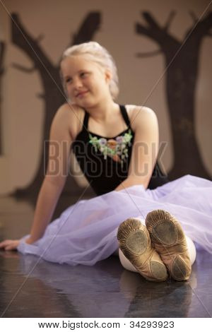 Pretty Ballet Student On Floor