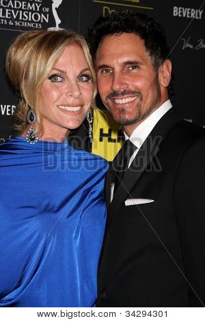 LOS ANGELES - JUN 23:  Cindy Ambuehl, Don Diamont arrives at the 2012 Daytime Emmy Awards at Beverly Hilton Hotel on June 23, 2012 in Beverly Hills, CA