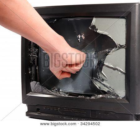 Man's Hand Crush Television Screen