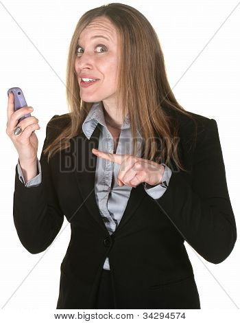 Beautiful Woman Points To Phone