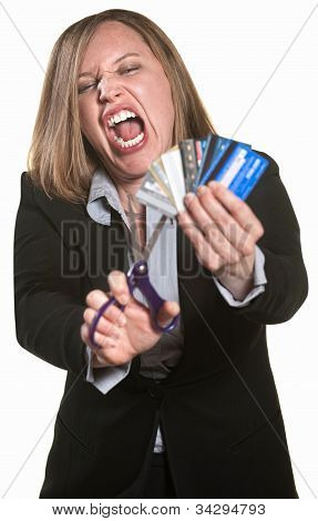 Angry Lady Cuts Credit Cards
