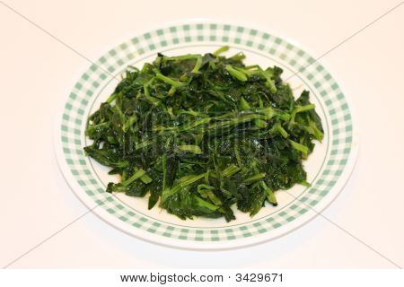 Green Sauteed Spinach on plate