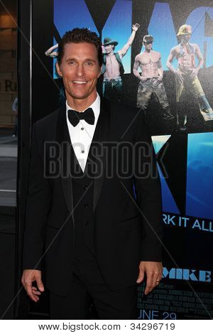 "LOS ANGELES - JUN 24:  Matthew McConaughey arrives at the ""Magic Mike"" LAFF Premiere at Regal Cinema at LA Live on June 24, 2012 in Los Angeles, CA"