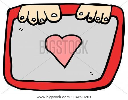 cartoon child's drawing of a heart in a decorative frame