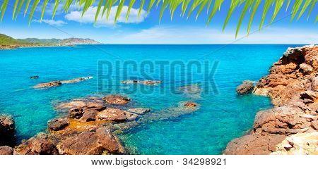 Ibiza Canal d en Marti Pou des Lleo beach in balearic islands of Mediterranean sea [ photo-illustration]