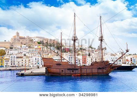 Eivissa ibiza town with old classic wooden corsair boat
