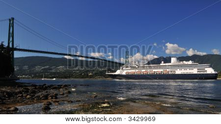 Cruise Ship Approaching Lions Gate Bridge