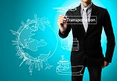 stock photo of barge  - Business man drawing Transportation - JPG
