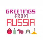 Greetings From Russia, Pixel Art Font Lettering For Prints, Cards, Poster, Banners. 8 Bit Old School poster