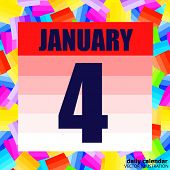 January 4 Icon. For Planning Important Day. Banner For Holidays And Special Days. Fourth Of January. poster