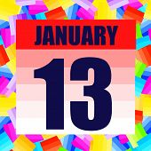 January 13 Icon. For Planning Important Day. Banner For Holidays And Special Days. January 13th. Ill poster