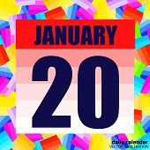 January 20 Icon. For Planning Important Day. Banner For Holidays And Special Days. Twentieth Of Janu poster