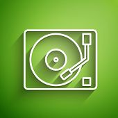 White Line Vinyl Player With A Vinyl Disk Icon Isolated On Green Background. Vector Illustration poster